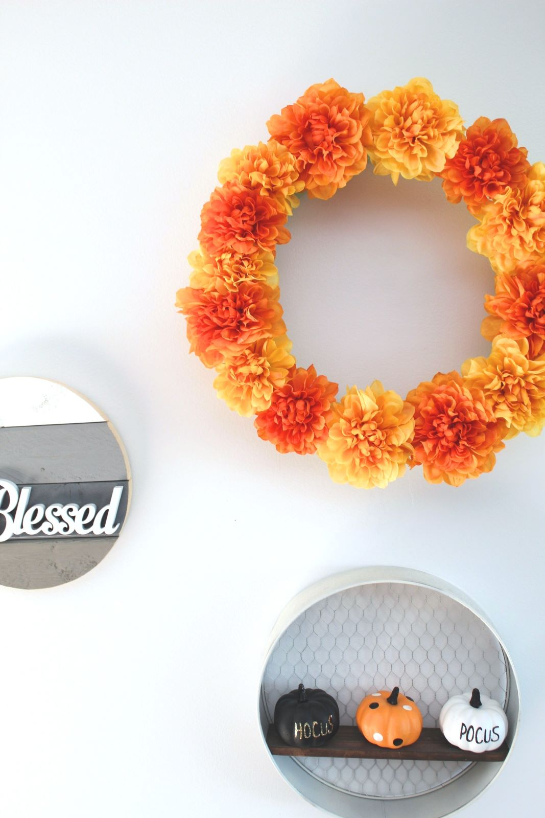 fall floral wreath on wall 1