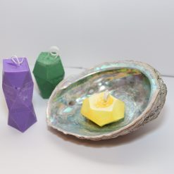 finished geometric gemstone candles craft tutorial