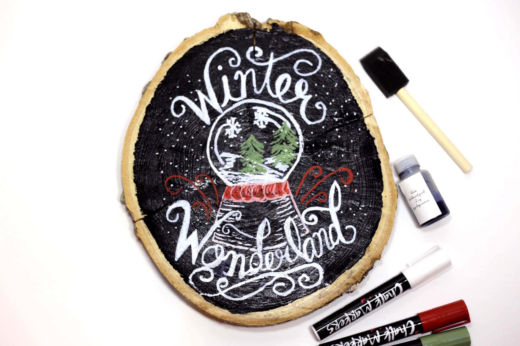 finished winter wonderland chalkboard lettered sign