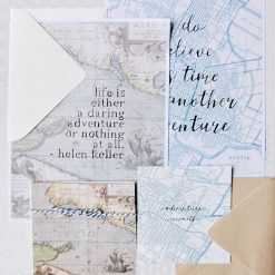 map paper with art quotes