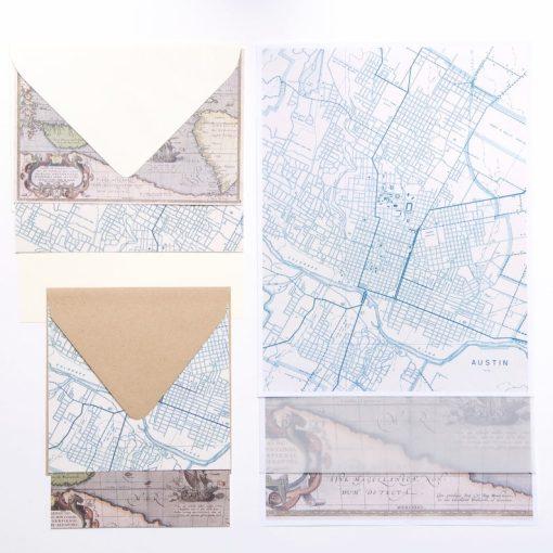 map stationery envelopes paper et