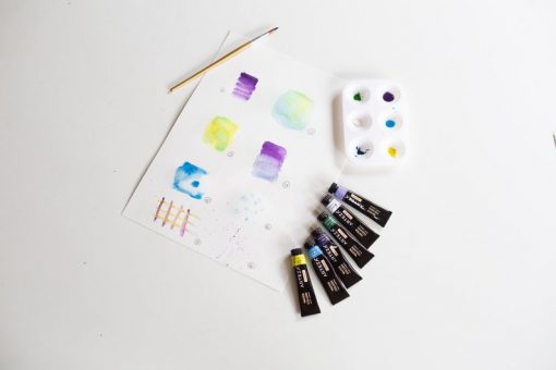 painting supplies for watercolor paper and postcards