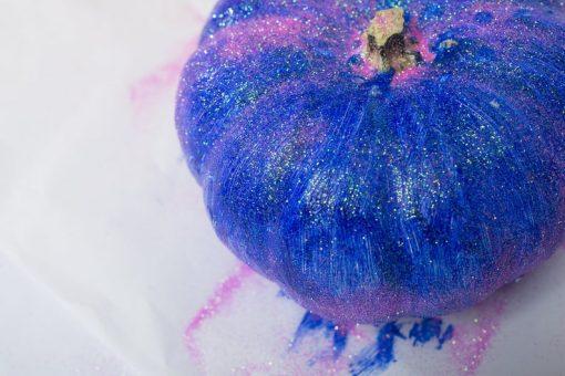 purple giltter painted diy pumpkin