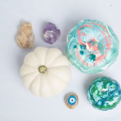 top view diy modern painted pumpkin craft kit