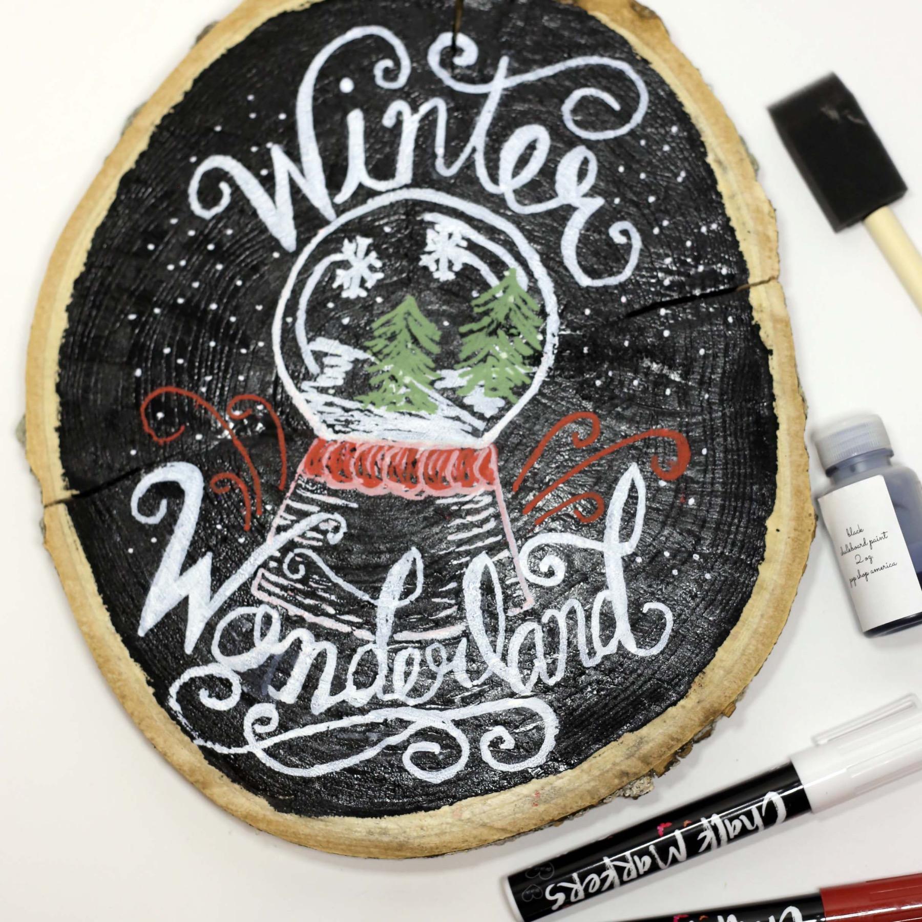 winter wonderland chalkboard lettered sign diy pop shop america