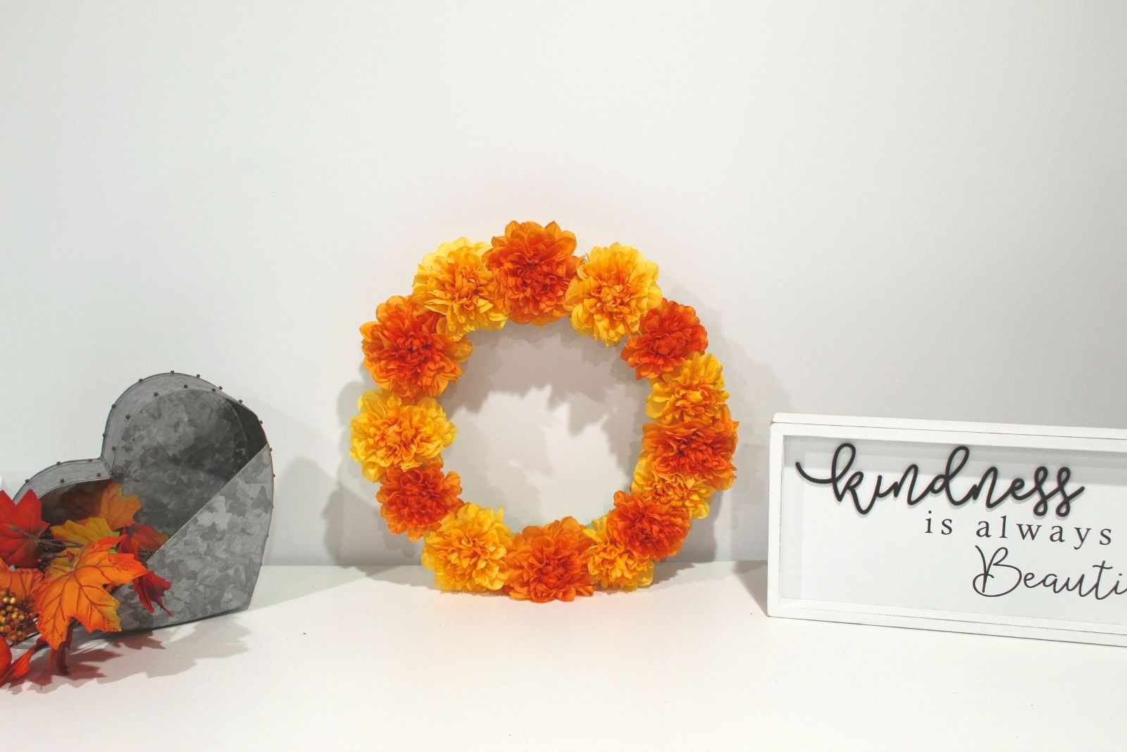 wreath on desk with fall decor