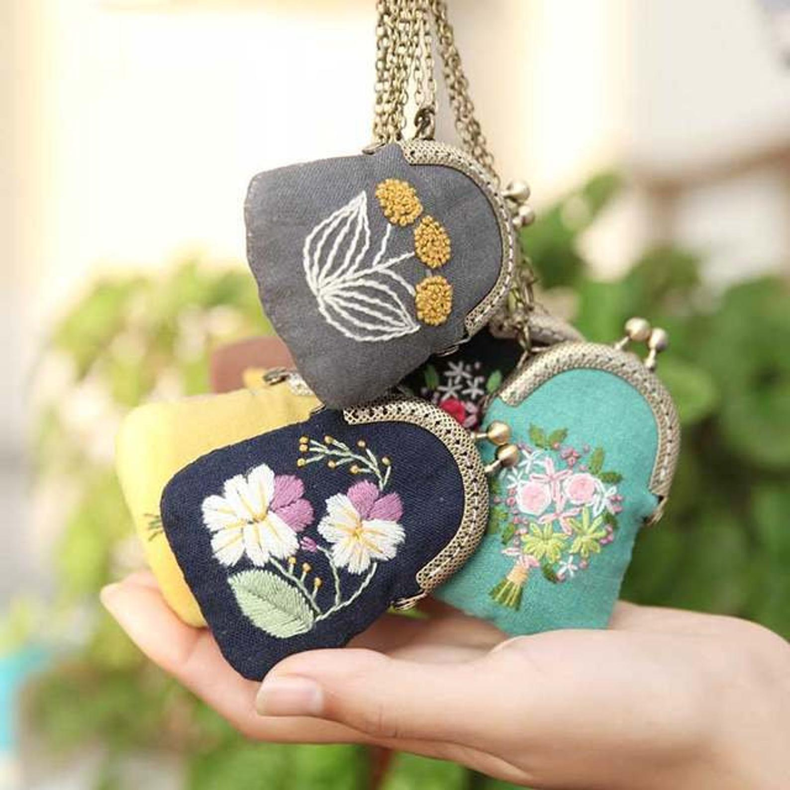 Embroidered Flower Purse DIY kit