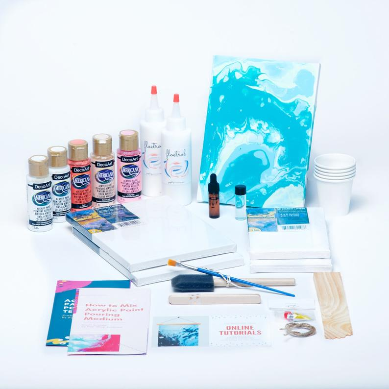 acrylic paint pouring kit with floetrol