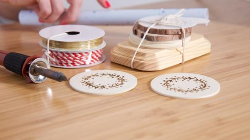 close up of diy wood burning kit craft supplies
