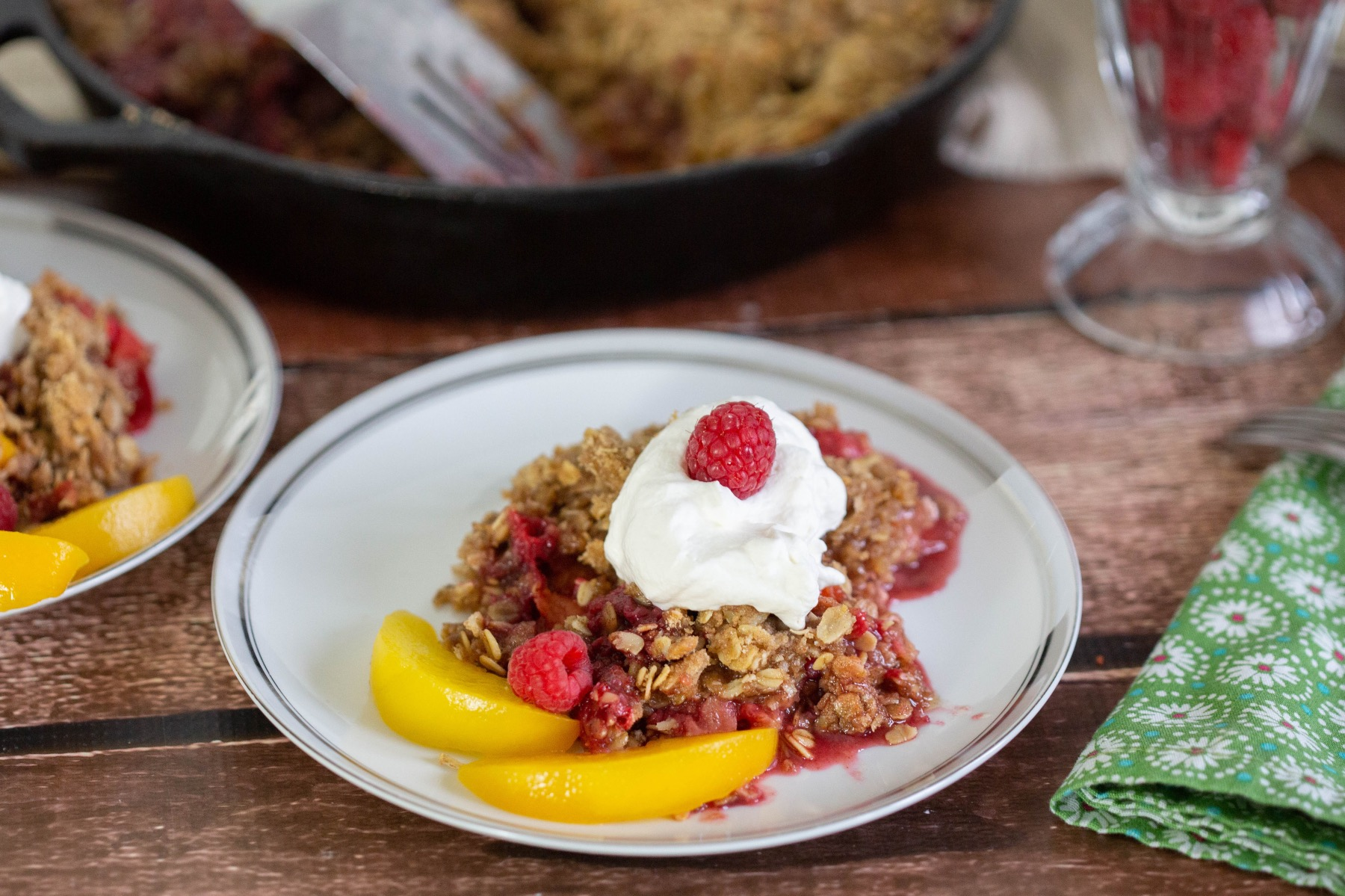 close up of the raspberry and peach crumble