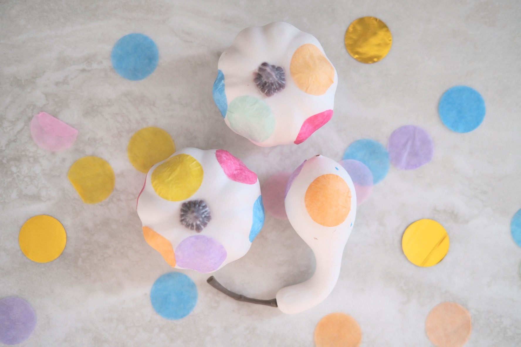 finished confetti pumpkins for craft in style subscription box