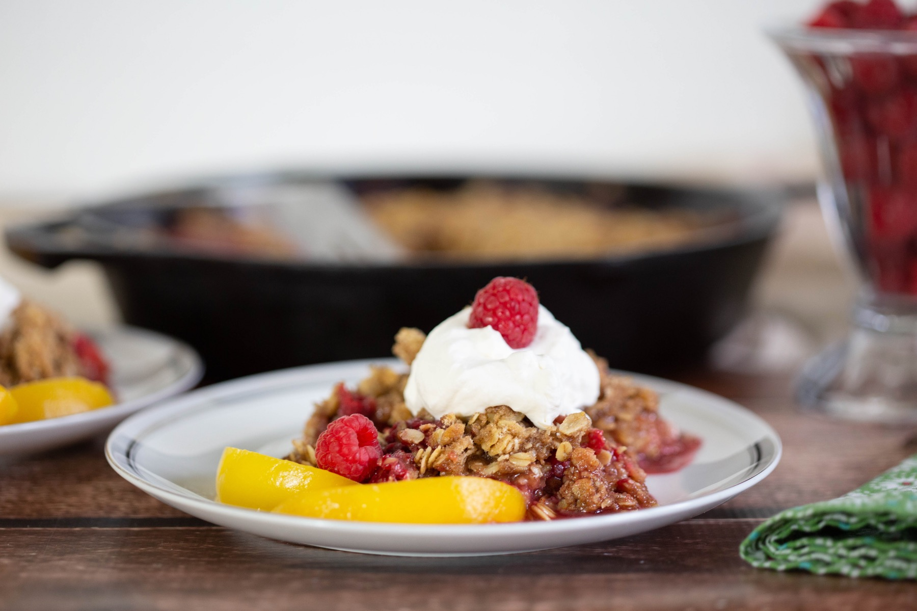 homemade cast iron skillet crumble with peaches