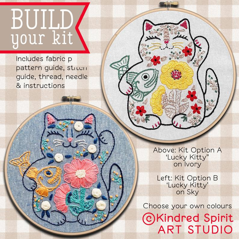 lucky cat embroidery craft kit gift idea
