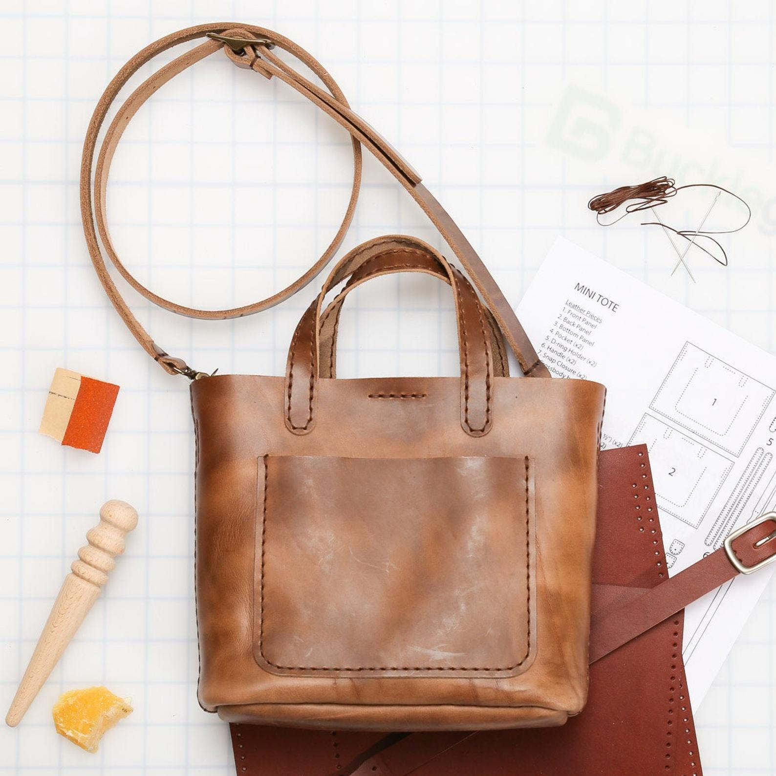 mini leather tote craft kit gift ideas