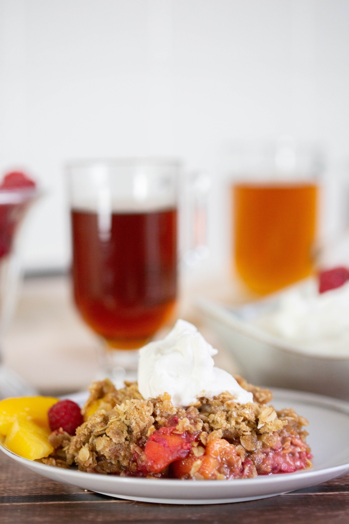 raspberry and peach crumble recipe served