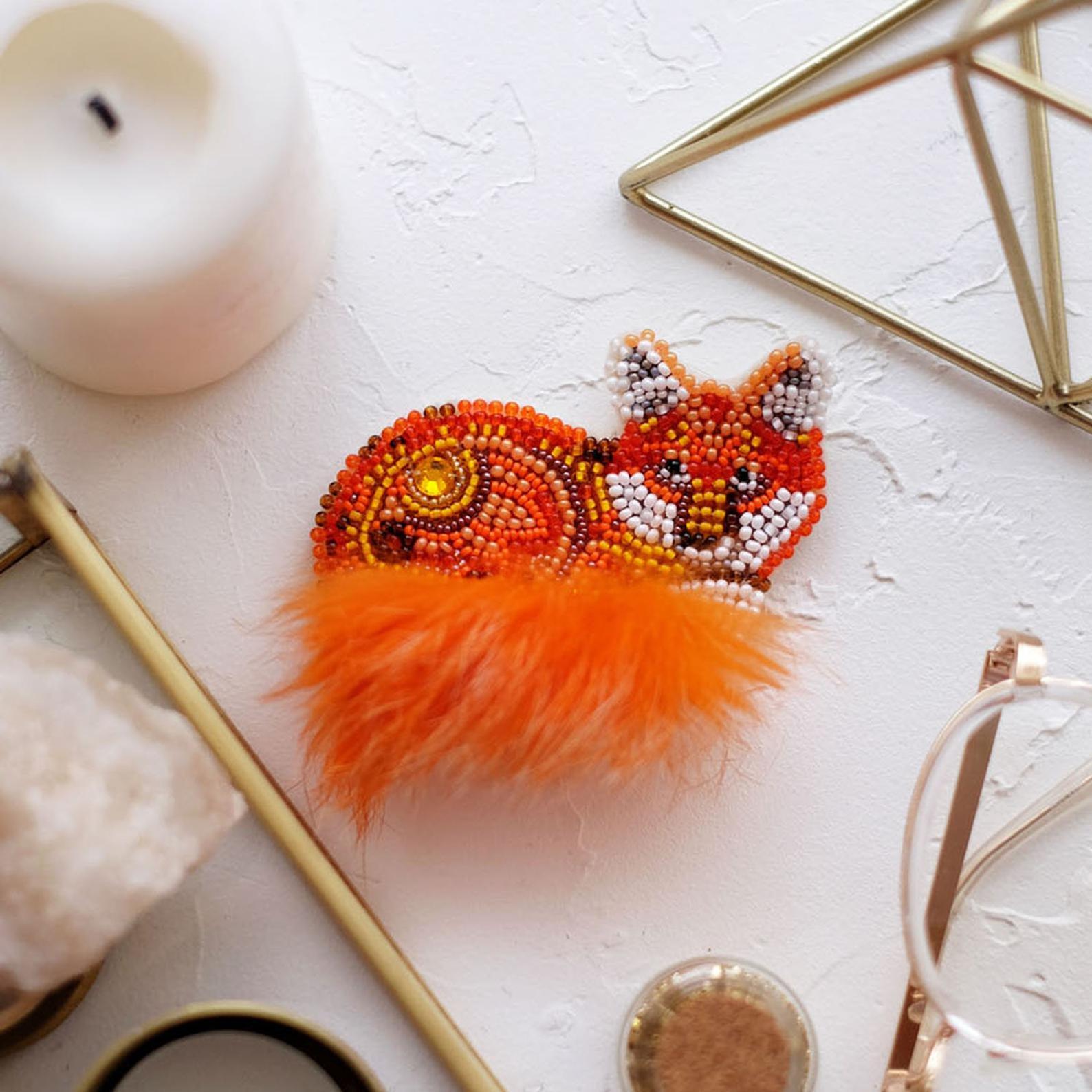 red fox beadwork jewelry kit gift