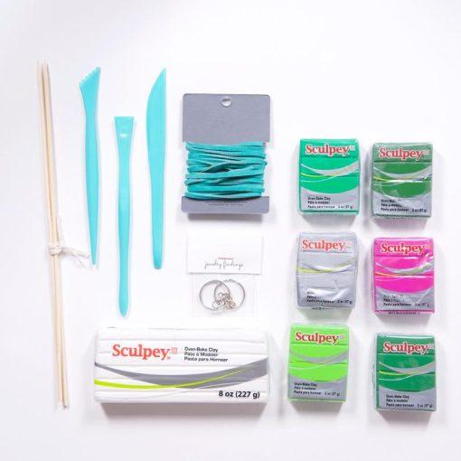 supplies for diy oven bake cactus claya ring holder