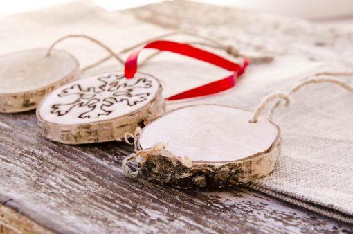 wood slice snowflake ornaments