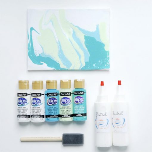 Turquoise Surf Blue Mint acrylic paint pouring colors