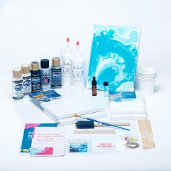 black silver white acrylic paint pouring kit