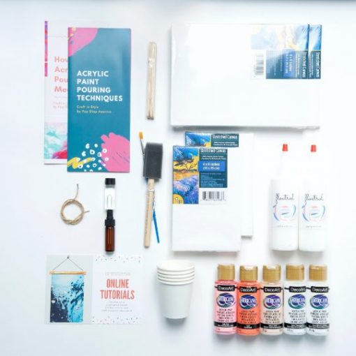 flatlay of acrylic paint pouring craft kit