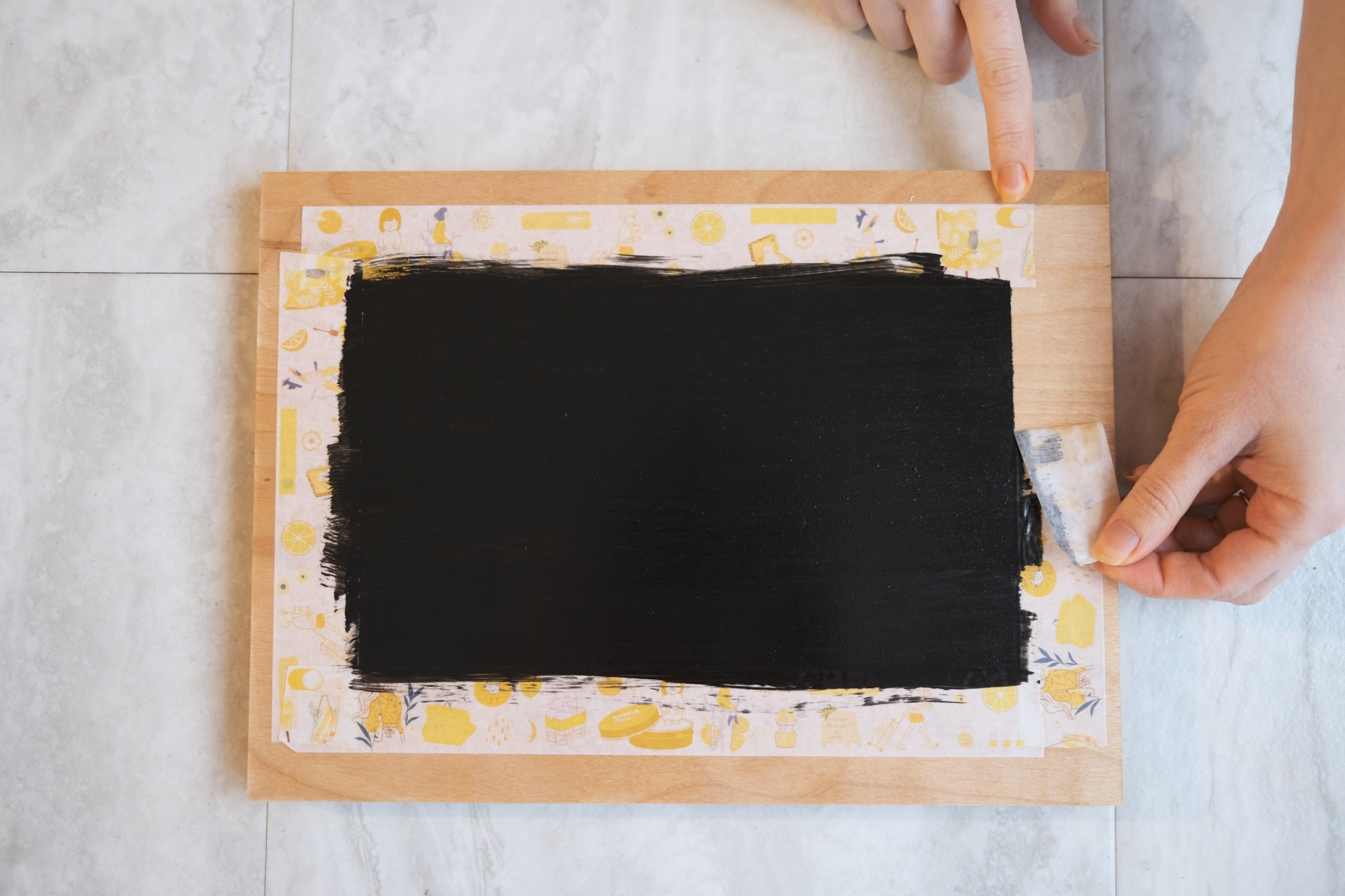 remove the washi tape to reveal the chalkboard