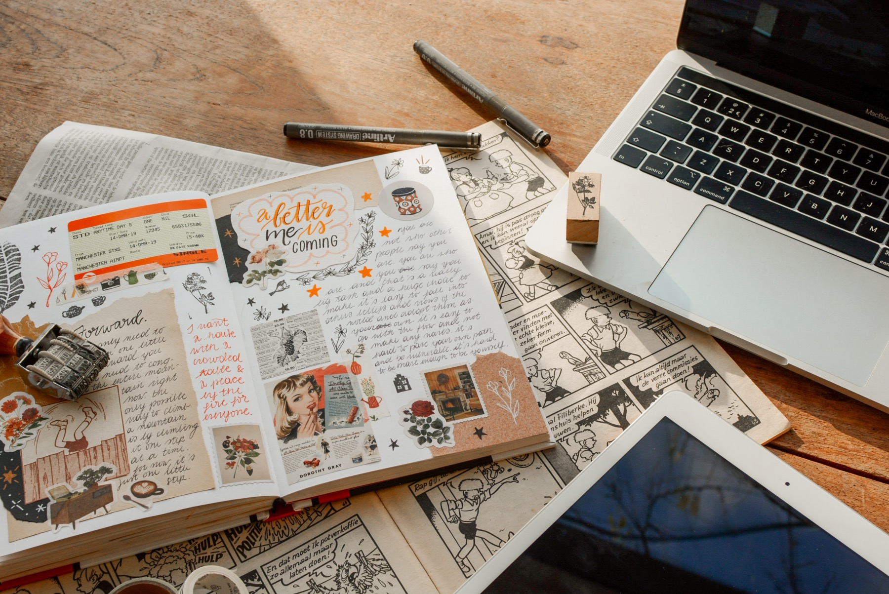 add colored paper and memorabilia to a collage journal