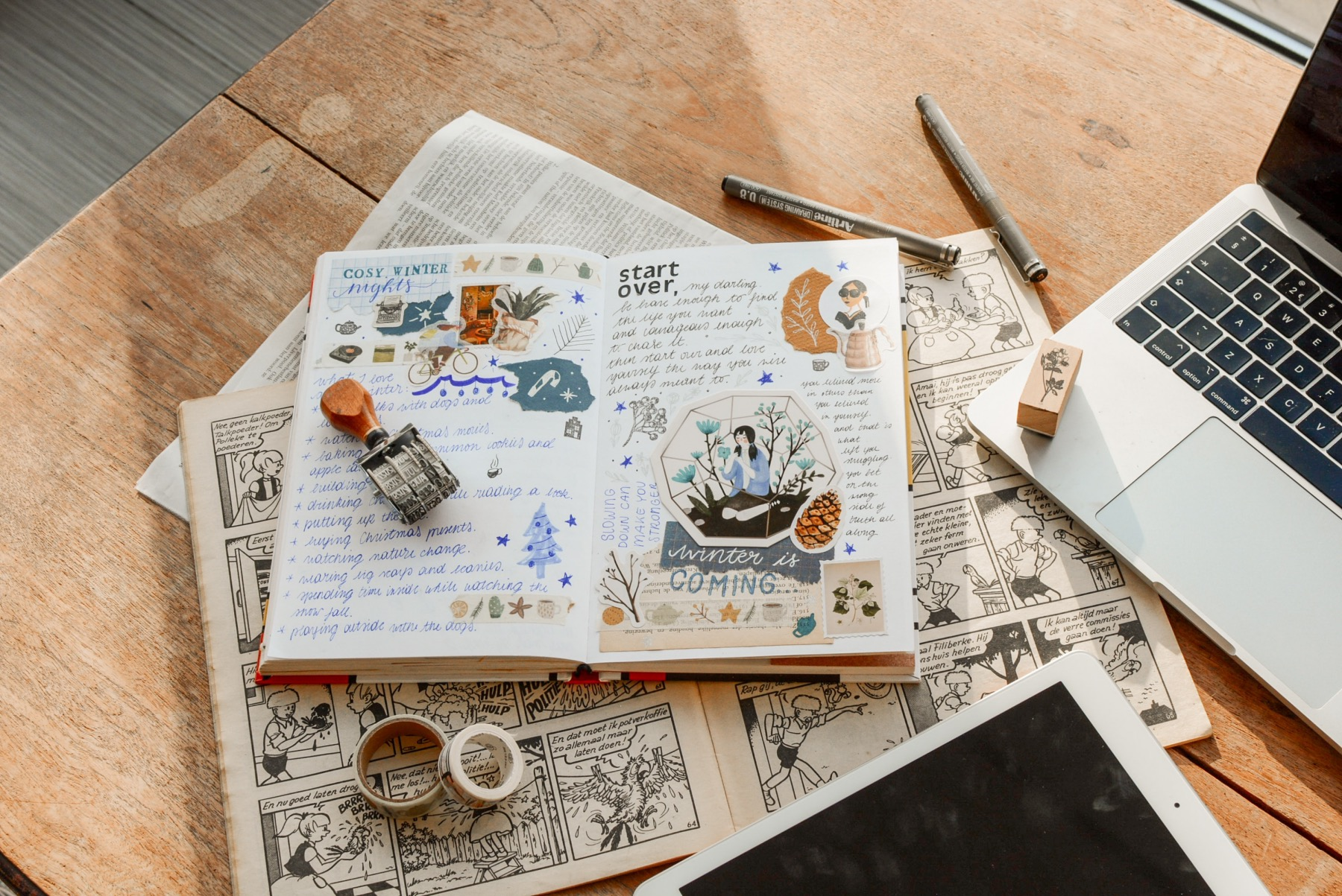 add washi tape and stickers to make a cool collage journal