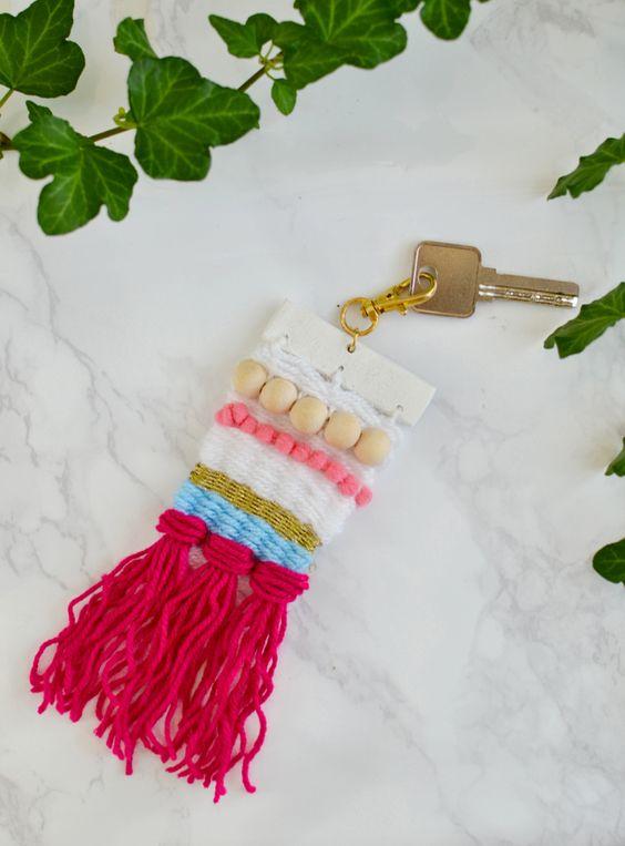 diy woven yarn keychain with a loom