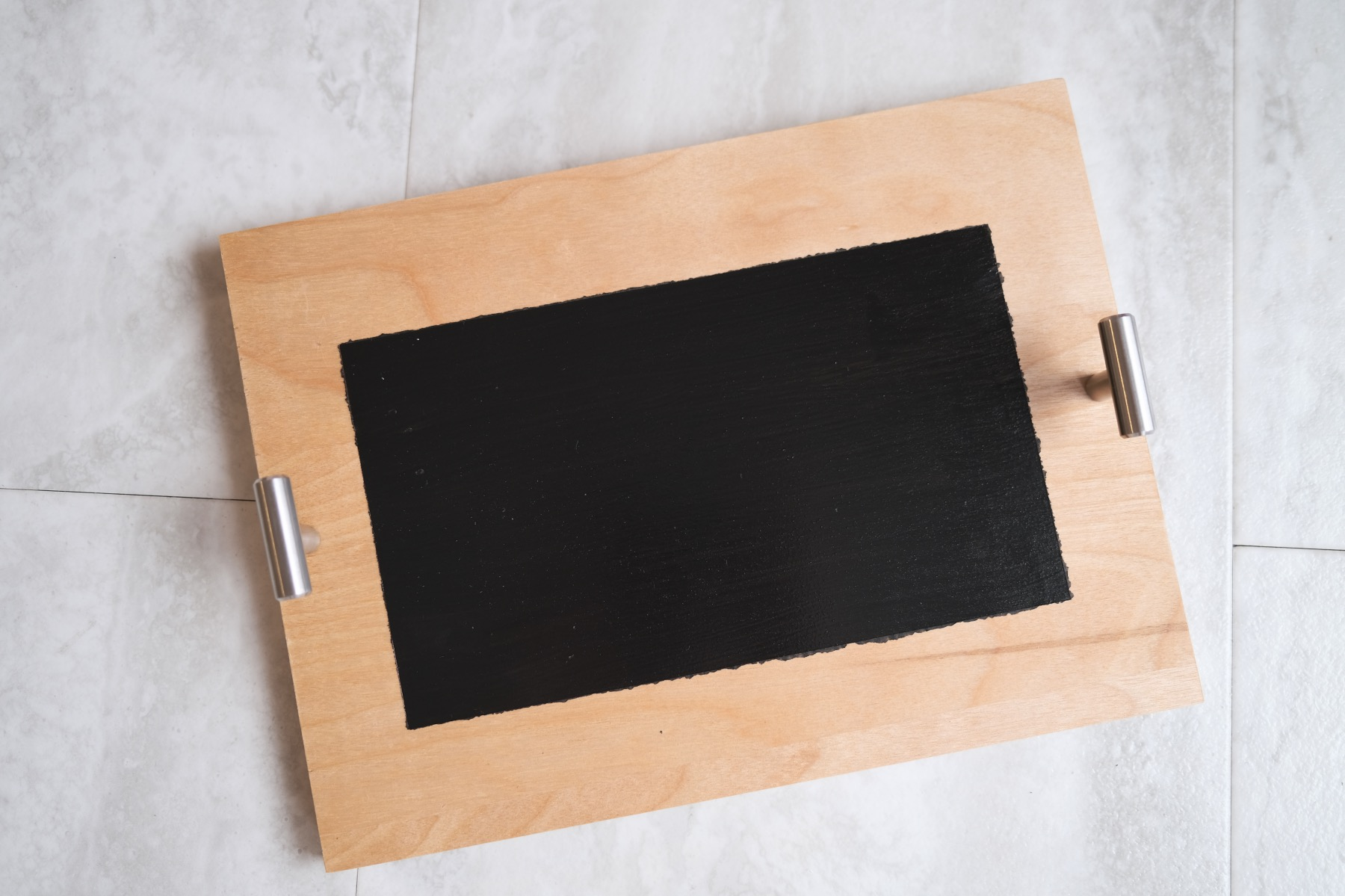 finished chalkboard painted serving tray diy