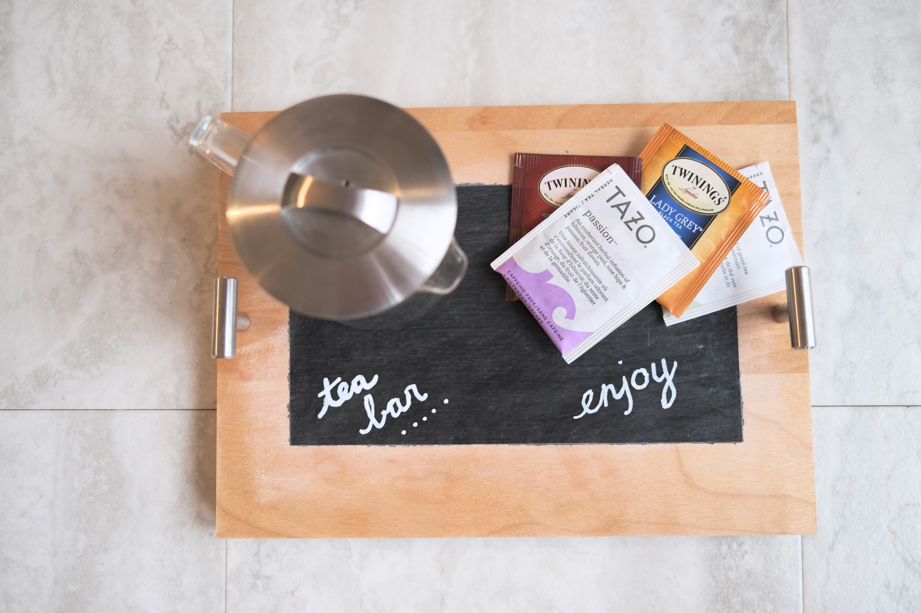 finished chalkboard painted wood tray diy