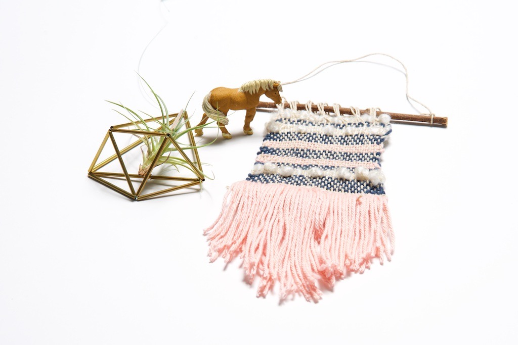 finished woven yarn wall hanging craft tutorial
