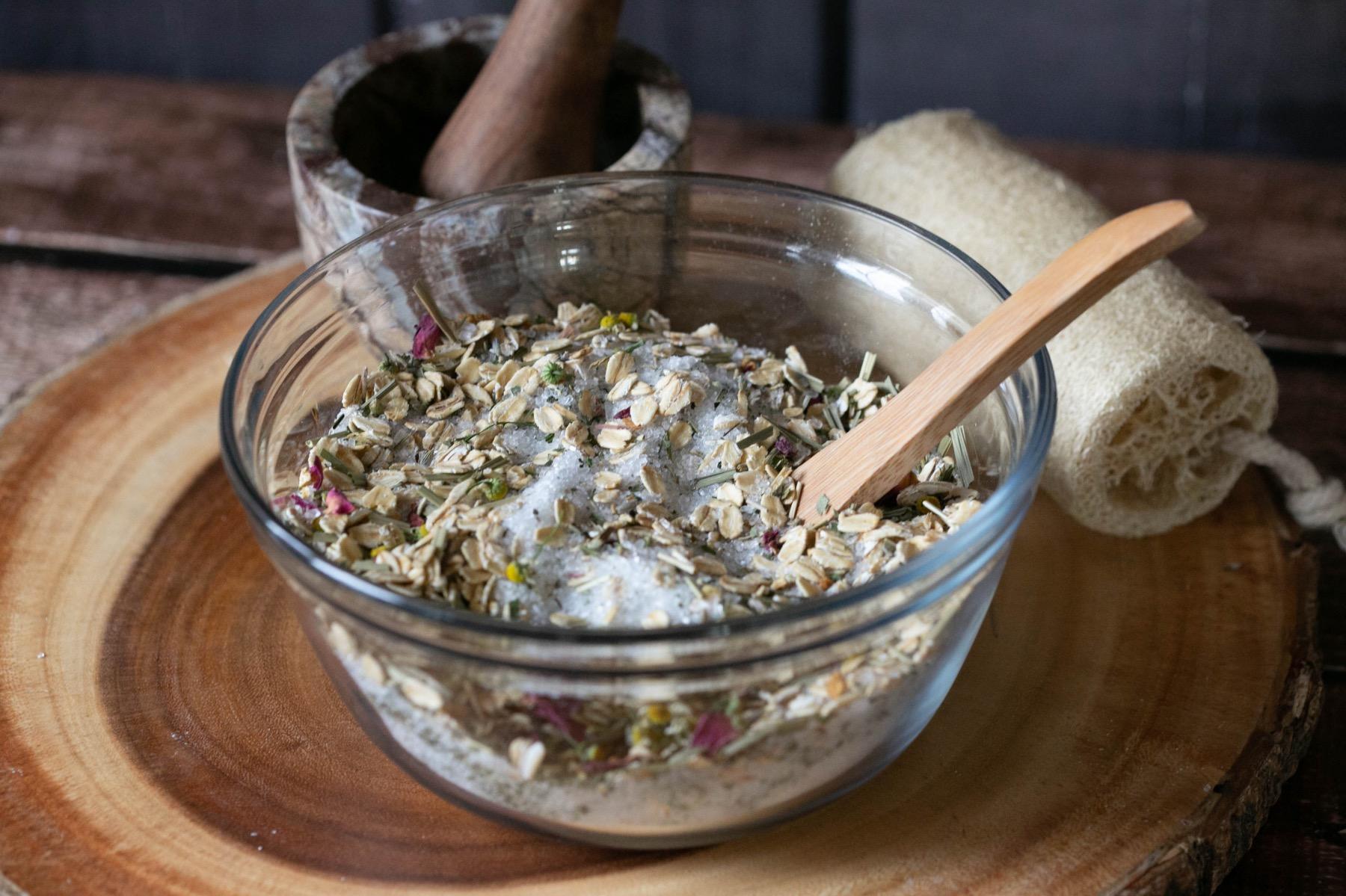 forest bath soak ingredients blended together