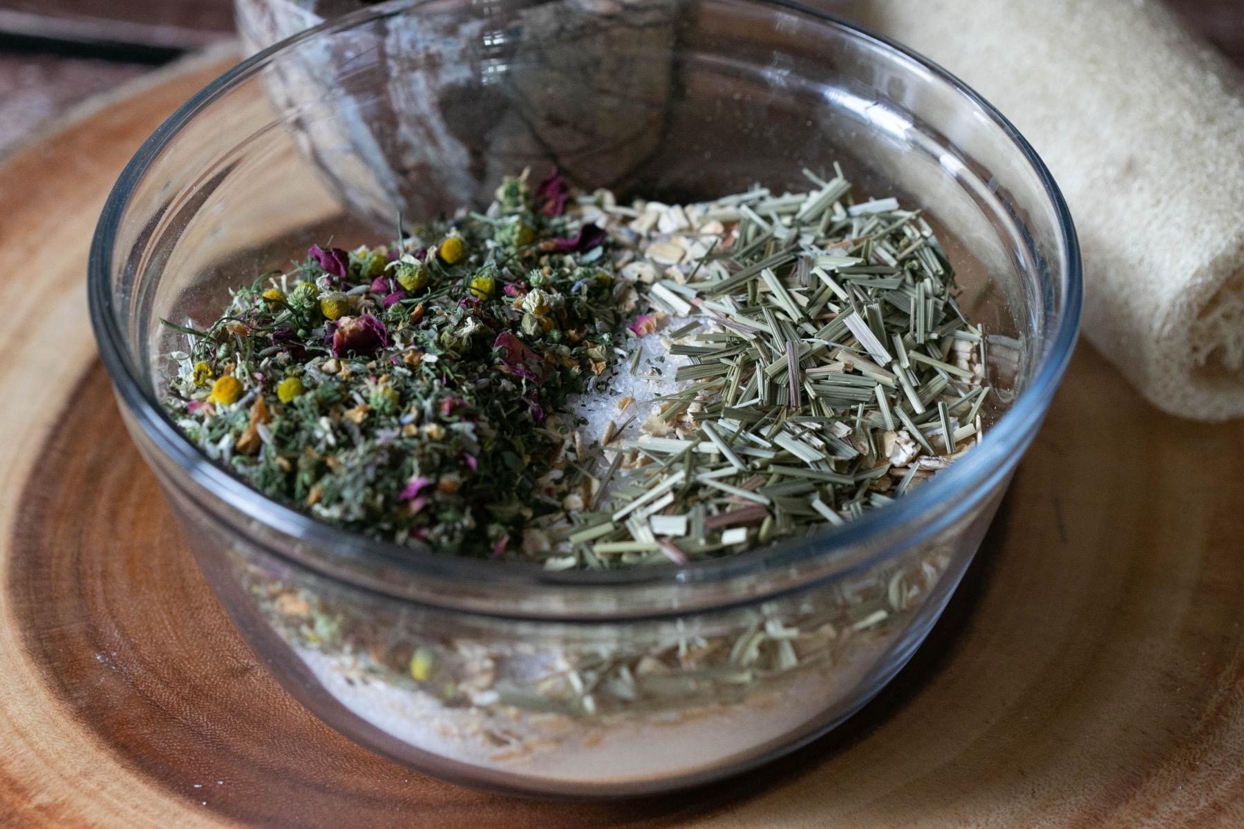 mix herbs into the oats and epsom salt - bath soak recipe