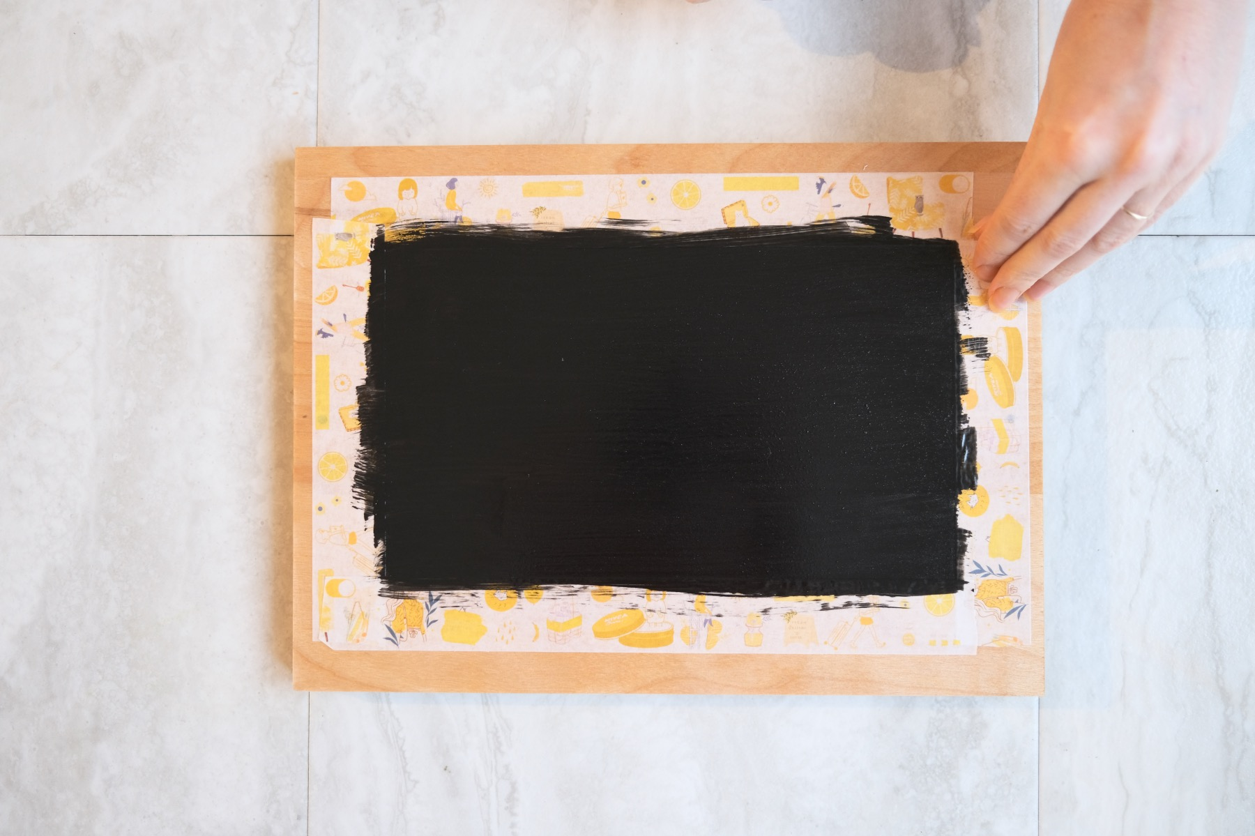 removing the washi tape chalkboard painting tutorial