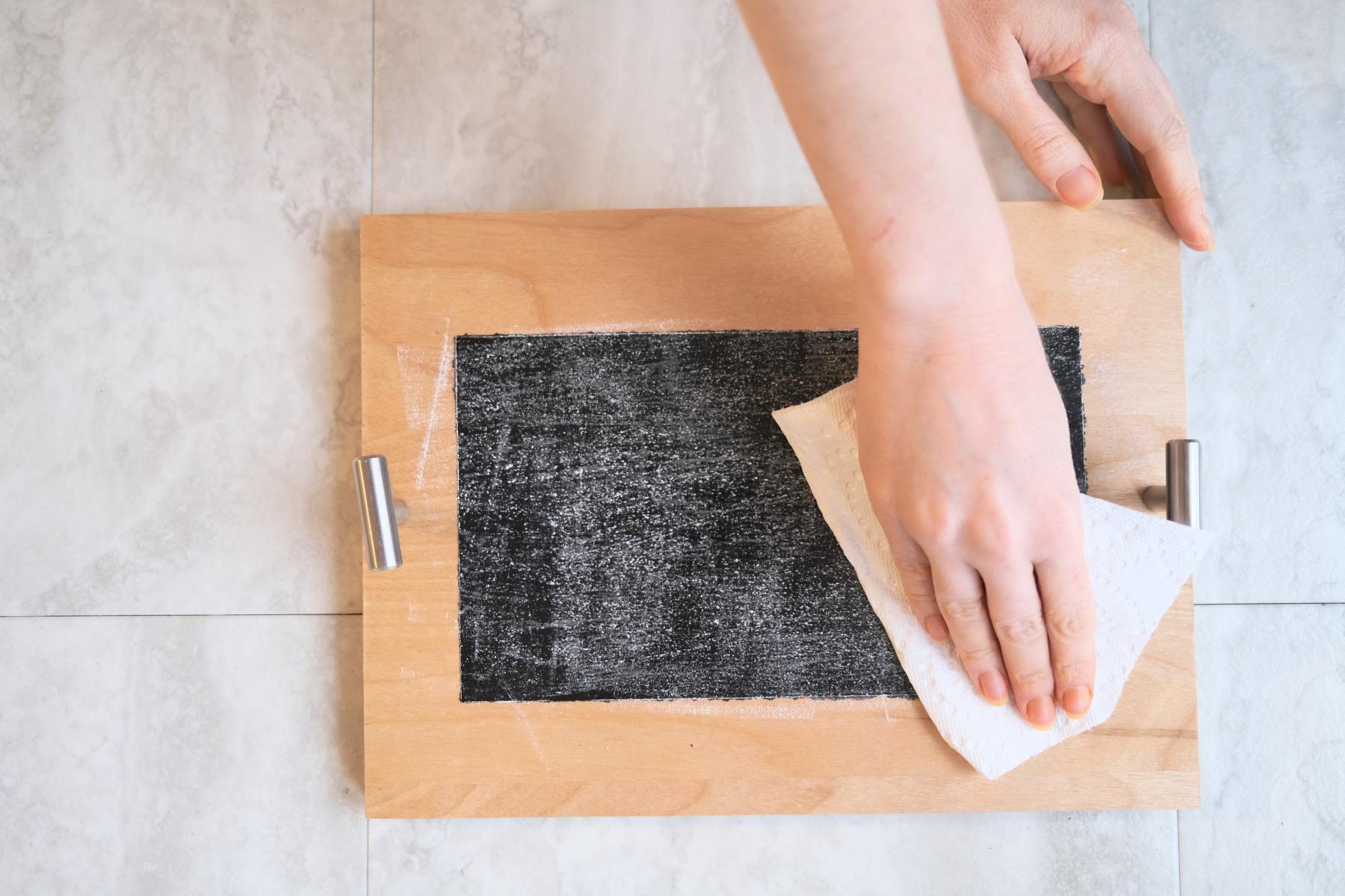 wipe off the dry chalk to season a chalkboard