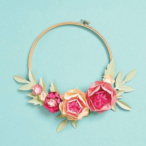 blush paper flower hoop wreath diy kit