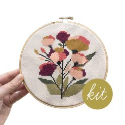 coral-flowers-cross-stitch-making-supply-kit