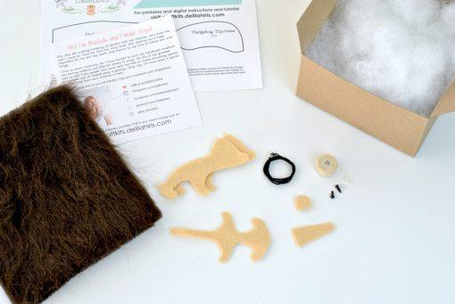 craft supplies inside the hedgehog making kit