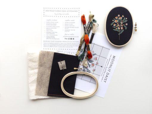 craft-supplies-inside-the-midnight-daisy-cross-stitch-kit