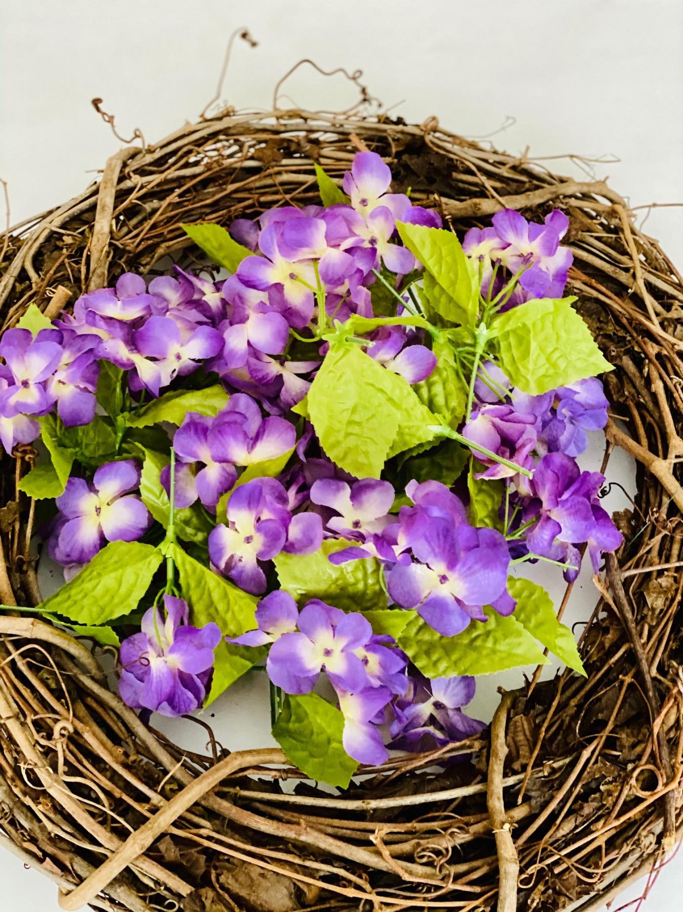 cut apart hydrangeas grapevine wreath tutorial
