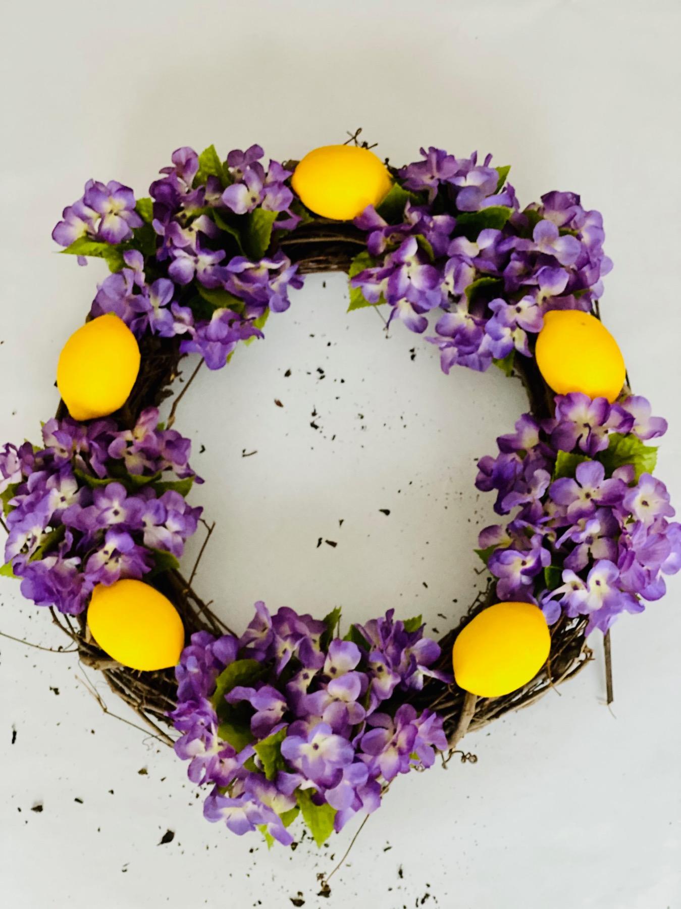 finished lemon and hydrangea door wreath tutorial