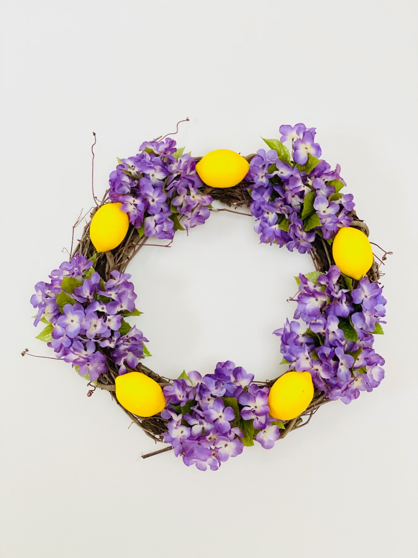 finished lemon grapevine wreath craft tutorial