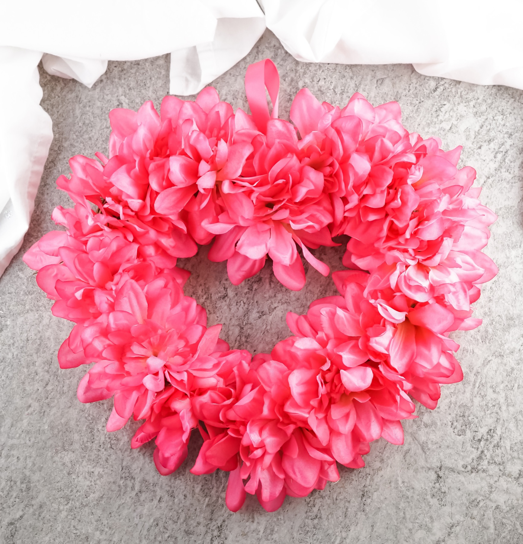 finished pink flower heart wreath diy pop shop america