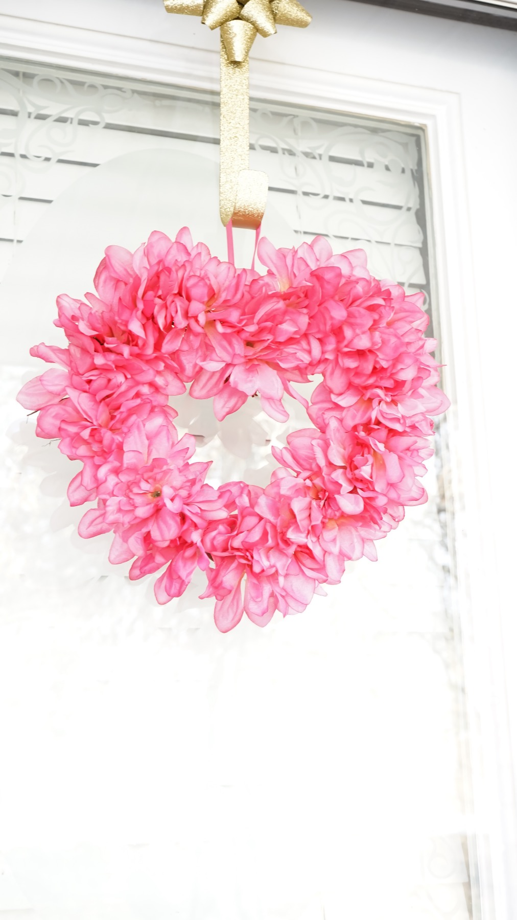 finished pink flower heart wreath tutorial pop shop america