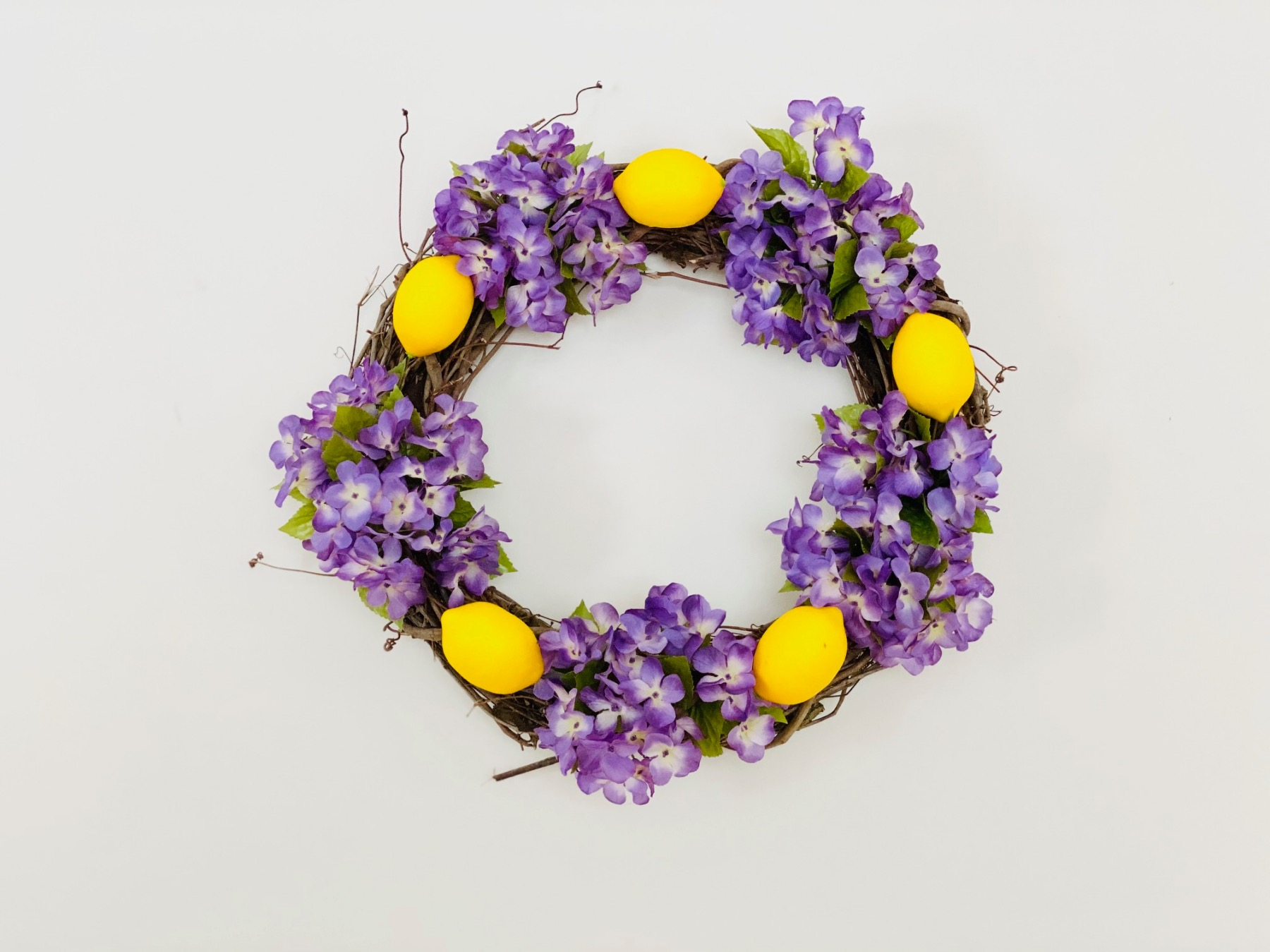 how to make a purple and yellow lemon wreath