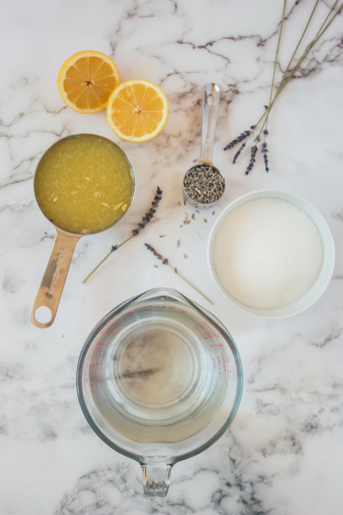 ingredients to make easy lavender lemonade recipe