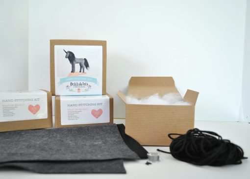 inside the felt unicorn craft supply kit