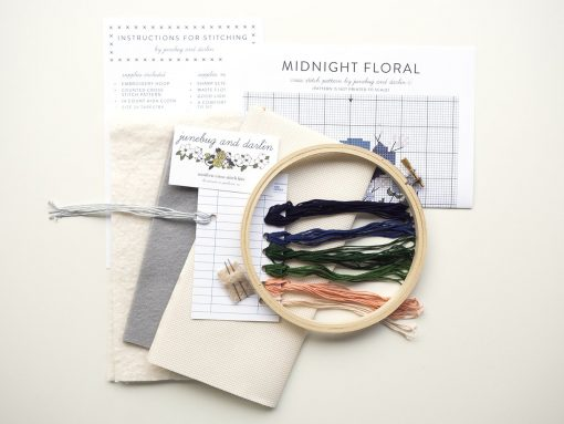 supplies-included-in-the-midnight-flowers-cross-stitch-craft-kit