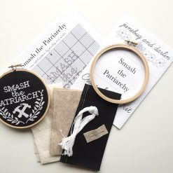 supplies-inside-the-smash-the-patriarchy-embroidery-cross-stitch-kit